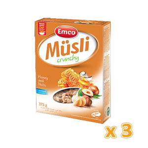 EMCO - Crunchy Muesli With Honey & Nuts (3 X 375 gm) - Sanadeeg