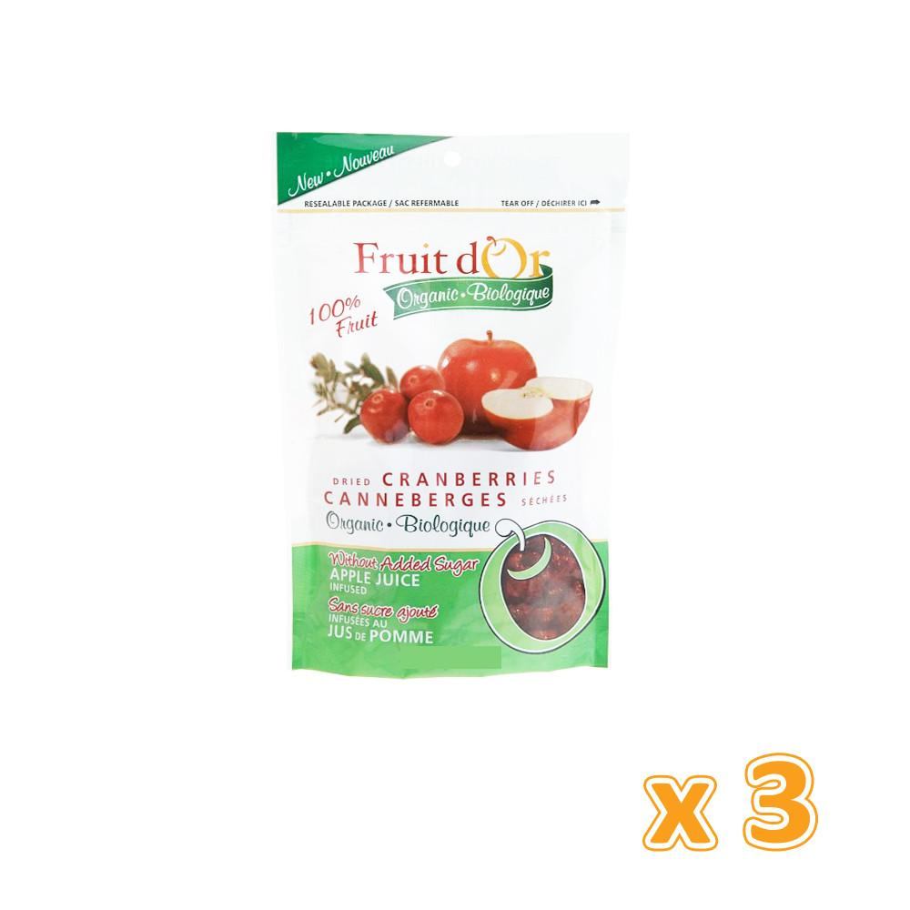 Fruit d'or - Organic Whole Dried Cranberry Apple Juice Infused  (3 X 113 gm) - Sanadeeg