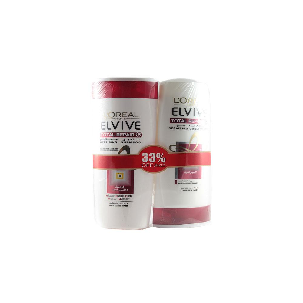 L'Oreal ELVIVE Total Repair 5 for Damaged Hair (1X 400 ml Shampoo + 1 X 400 ml Conditioner Bundle) - Sanadeeg