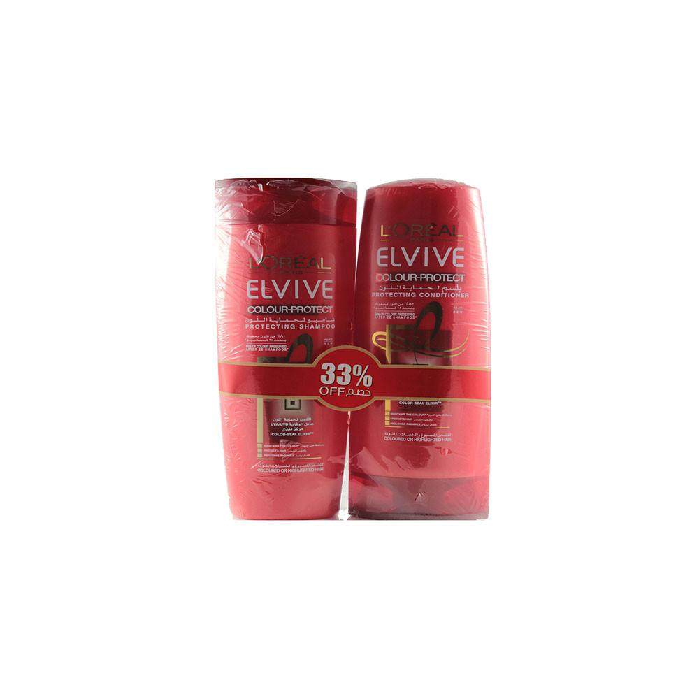 L'Oreal ELVIVE Colour-Protect for Coloured or Highlighted Hair (1X 400 ml Shampoo + 1 X 400 ml Conditioner Bundle) - Sanadeeg
