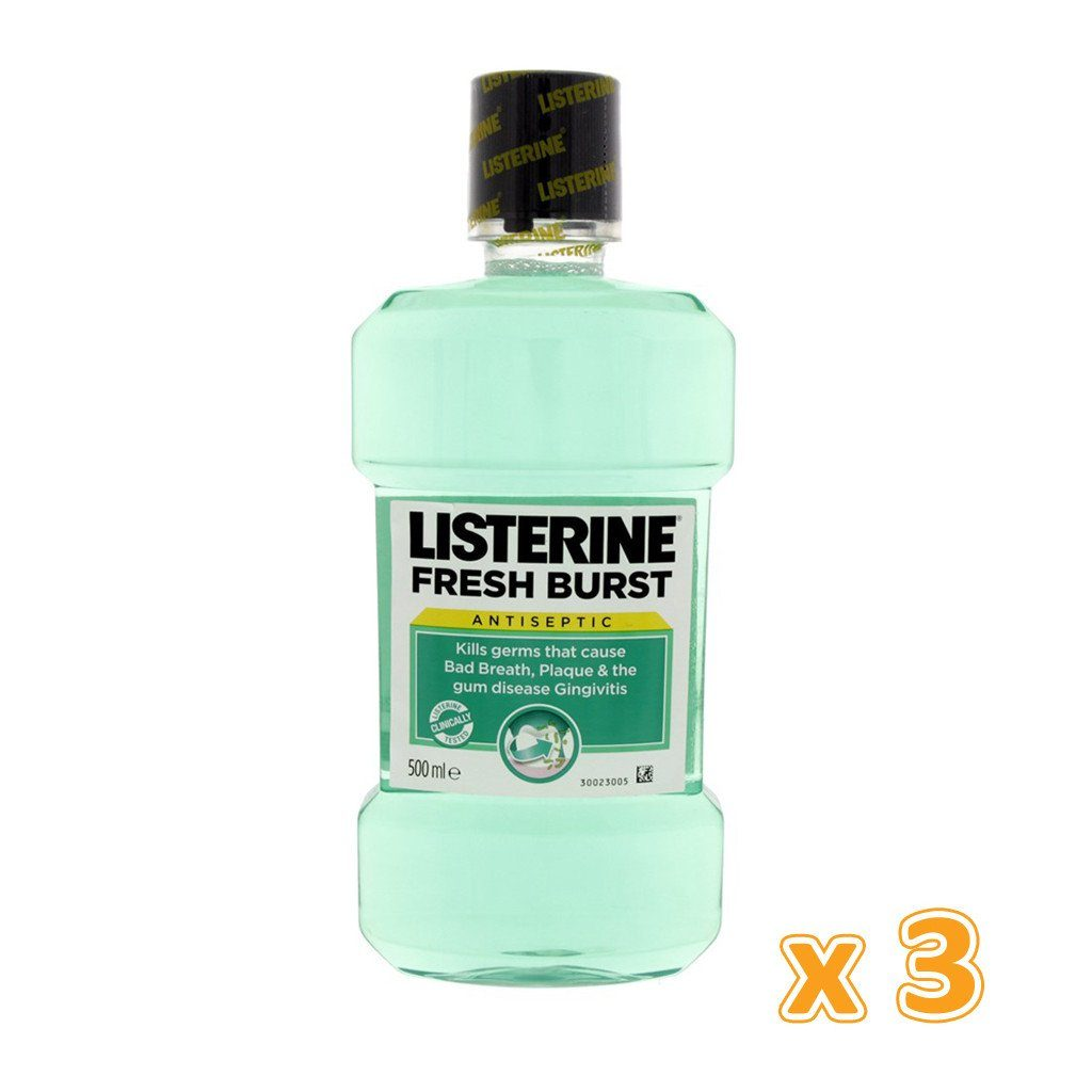 Listerine Fresh Burst Mouthwash (3 X 500 ml) - Sanadeeg