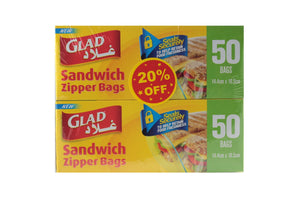 Glad Sandwich Zipper Bags (2 X 50 pack) - Sanadeeg