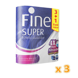 Fine Super Kitchen Towels - 3 Ply (12 Rolls x 45 sheets) - Sanadeeg