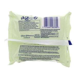 Johnson's Facial Cleansing Wipes - Combination Skin (2 x 25 wipes) - Sanadeeg