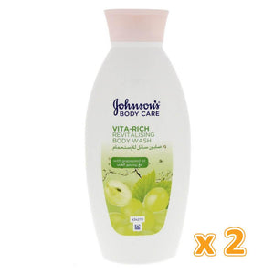 Johnson's Body Care Vita Rich Smoothing Body Wash With Grape Seed (2 x 400 ml) - Sanadeeg