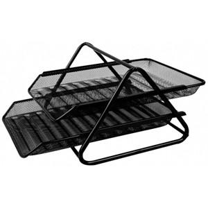 Mesh Paper Document Tray Set Of 2 Black - Sanadeeg