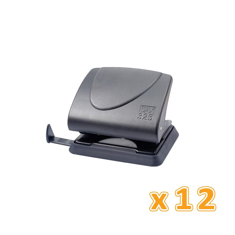 Sax 2-Hole Punch 25 Sheets Black (1 X 12 Pcs) - Sanadeeg