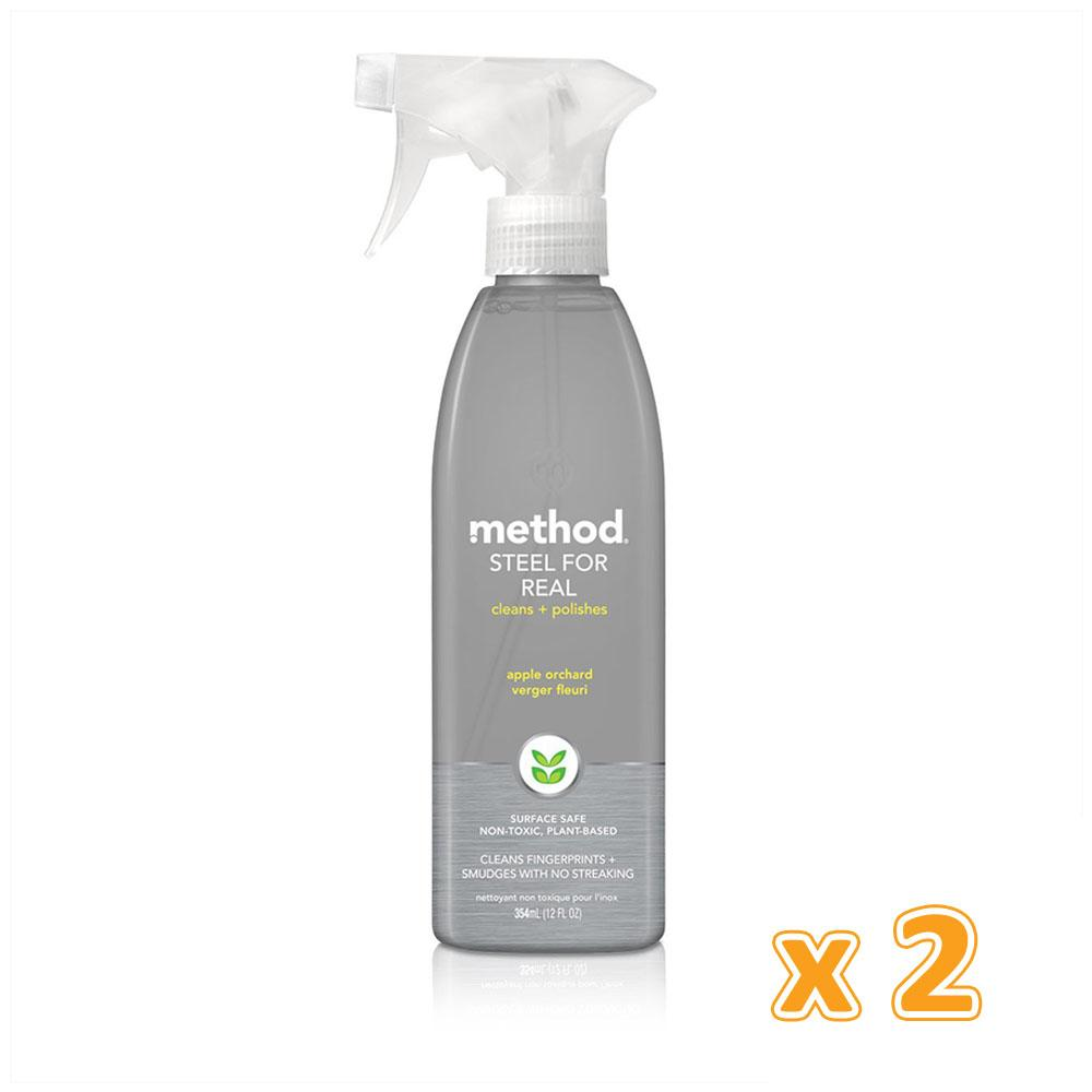 Method Stainless Steel Cleaner + Polish Spray Orchard Blossom (2 x 354 ML) - Sanadeeg