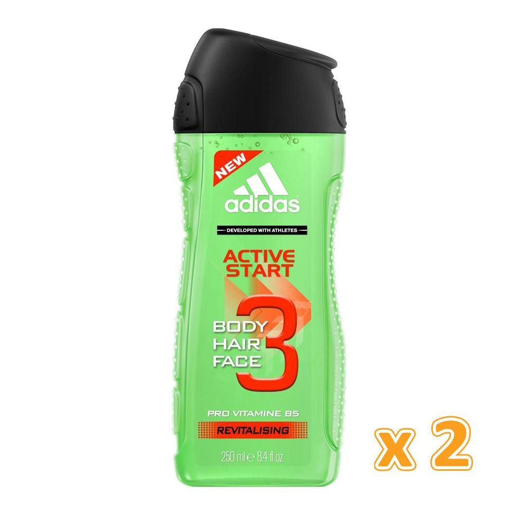 Adidas Active Start 3 in 1 Shower Gel (2 x 250ML) - Sanadeeg
