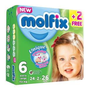 Molfix Anti Leakage Comfortable Extra Large Baby Diapers Size 6 (4 x 26)