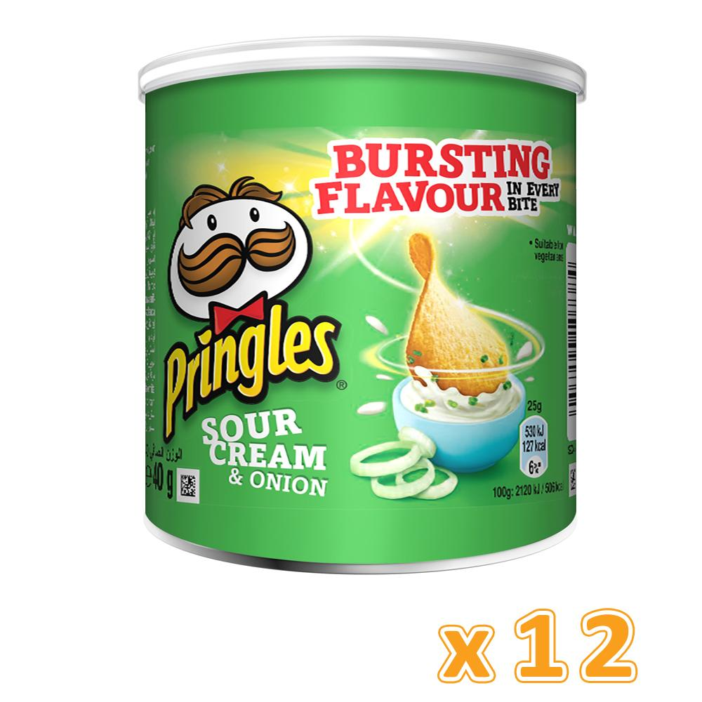 Pringles Sour Cream & Onion Chips (12 x 40 Gm) - Sanadeeg