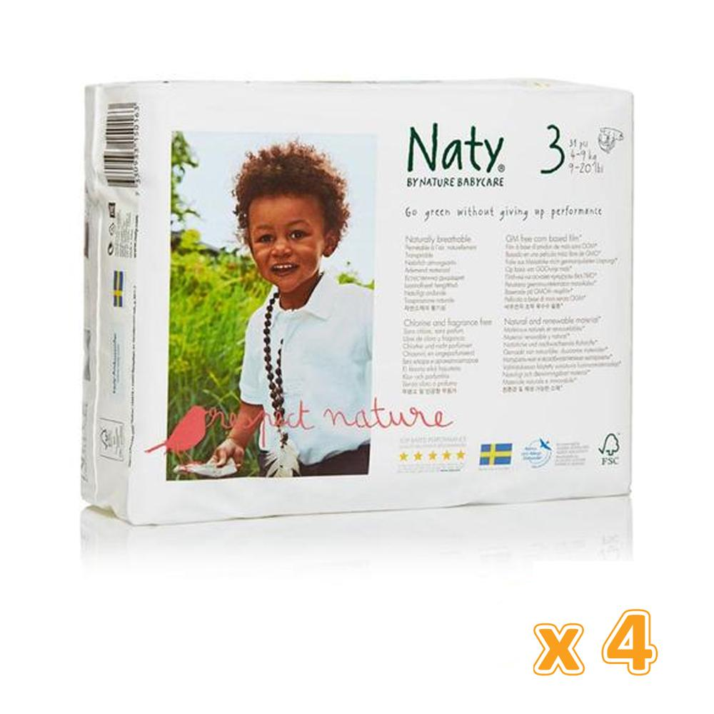 NATY BY NATURE NAPPIES Diapers Size - 3  4 -9 KG (4 x 31 Pcs)