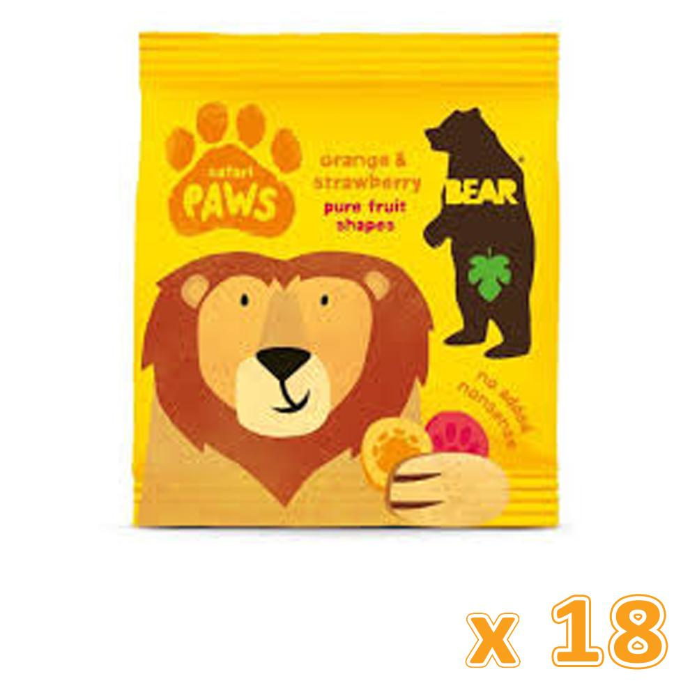 Bear Safari Orange & Strawberry Pure Fruit Paw Shaped Snack(18 x 20 gm) - Sanadeeg
