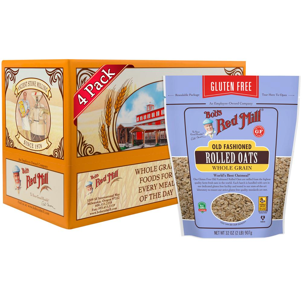 Bob's Red Mill Organic Gluten Free Regular Rolled Oats(4 x 906 gm) - Sanadeeg