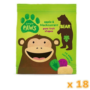 Bear Jungle Apple & Blackcurrant Pure Fruit Paw Shaped Snack (18 x 20 gm) - Sanadeeg