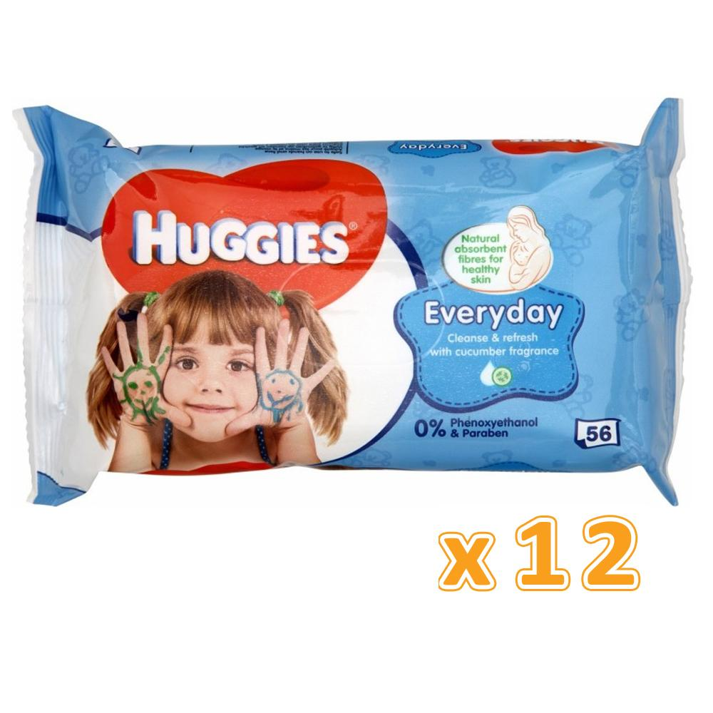 HUGGIES EVERYDAY BABY WIPES  (12 x 56 Sheets) - Sanadeeg