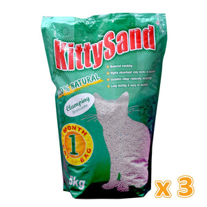 Kitty Sand Clumping Cat Litter ( 3 x 5 Kg)