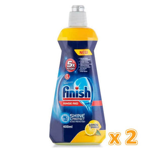 Finish Dishwasher Detergent Rinse Aid Liquid Lemon (2 x 400 ml) - Sanadeeg
