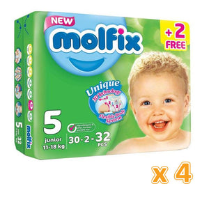Molfix Anti Leakage Comfortable Junior Baby Diapers Size 5 (4 x32)
