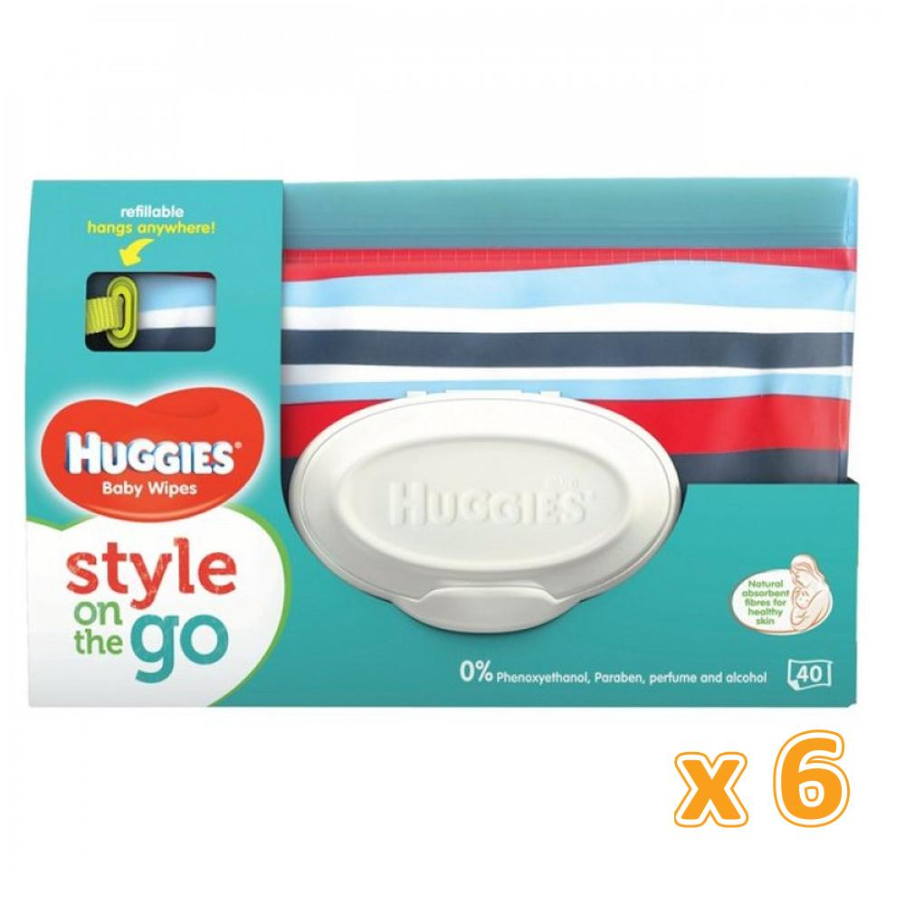 HUGGIES BABY WIPES GAGA POUCH  (6 x 40 Sheets) - Sanadeeg