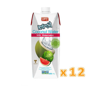 UFC REFRESH 100% COCONUT WATER  WITH WATERMELON ( 12  x 500 ML) - Sanadeeg