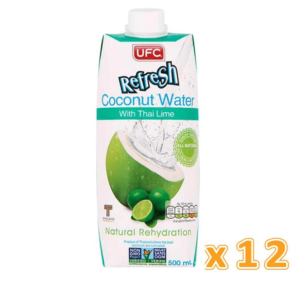 UFC REFRESH 100% COCONUT WATER WITH THAI LIME ( 12 x 500 ML) - Sanadeeg