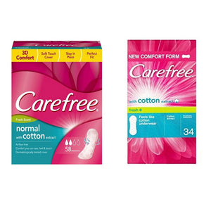 Carefree Cotton Fresh Pantyliners 58 Pcs  +  Carefree Breathable Fresh Panty Liners 34 Pcs - Sanadeeg