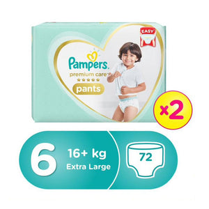 Pampers Premium Care Pants Diapers, Size 6, Extra Large, >16kg, Double Jumbo Pack (72 Count)