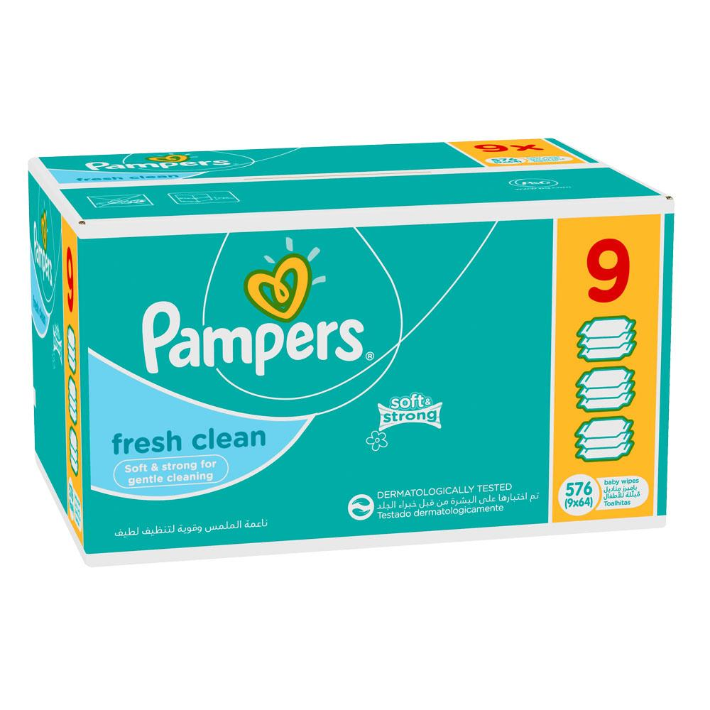 Pampers Fresh Clean Baby Wipes (9 x 64's)