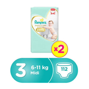 Pampers Premium Care Pants Diapers, Size 3, Midi, 6-11 Kg, Double Jumbo Pack  (112 Count)