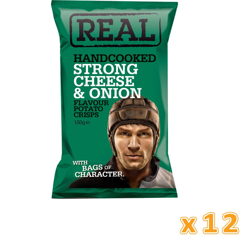 Real Crisps Strong Cheese & Onion (12 x 150 gm)