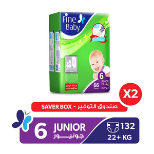Fine Baby Diapers Mother's Touch Lotion, Junior 22+ Kgs, Mega Pack (132 Diapers)