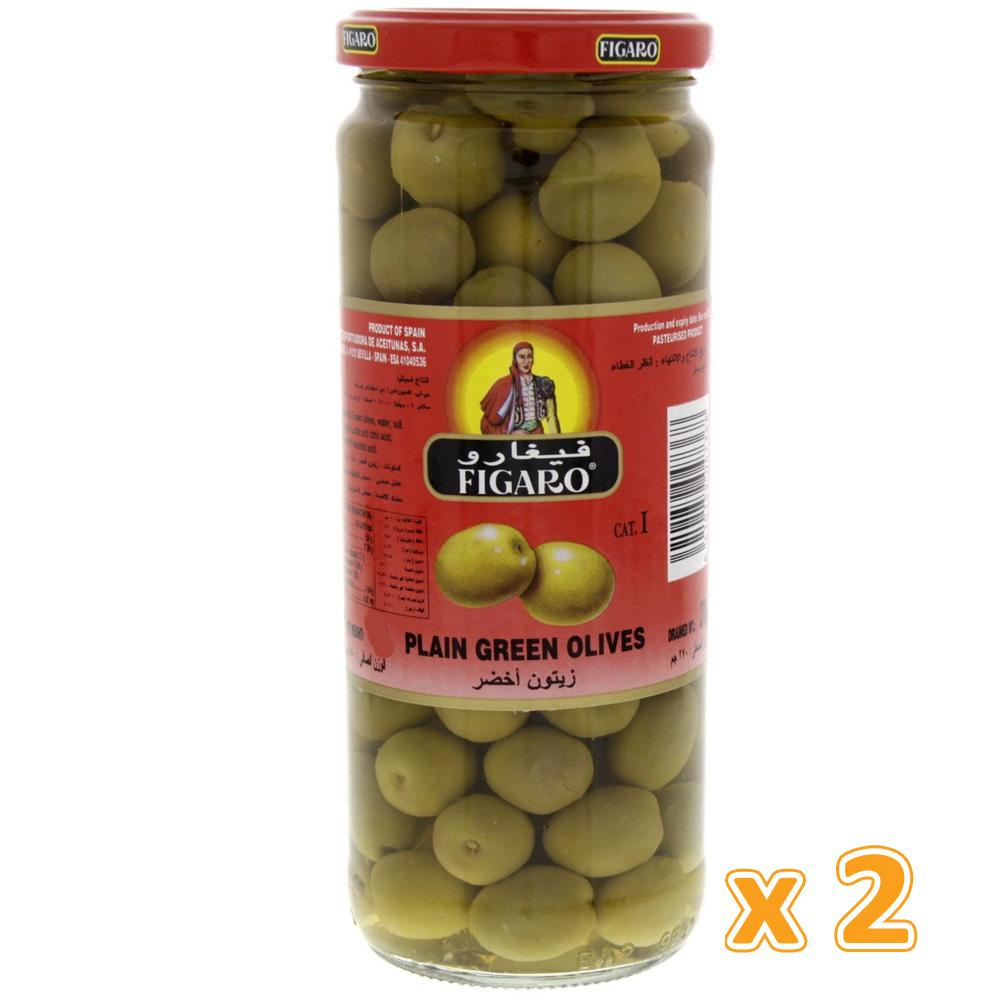 Figaro Plain Green Olives (2 X 270 gm) - Sanadeeg