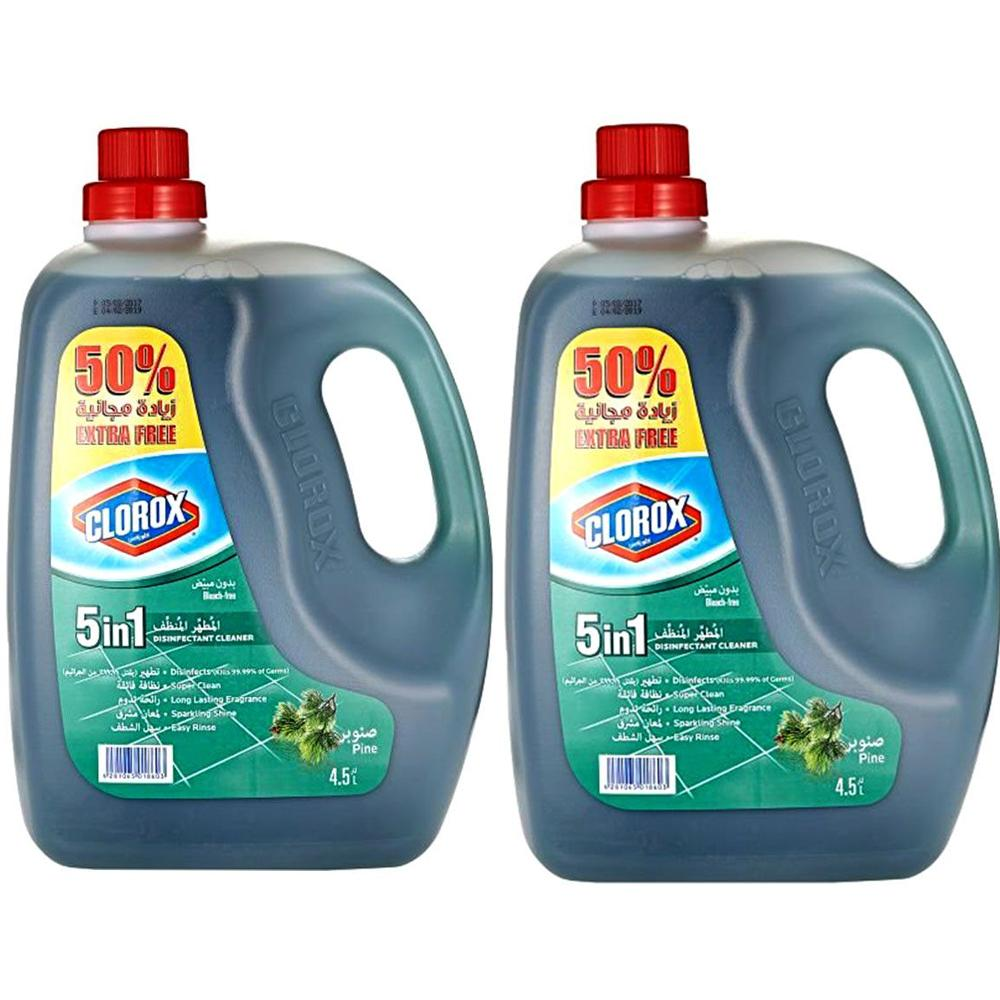 Clorox 5 in 1 Disinfectant Pine Floor Cleaner (2 x 4.5 L)