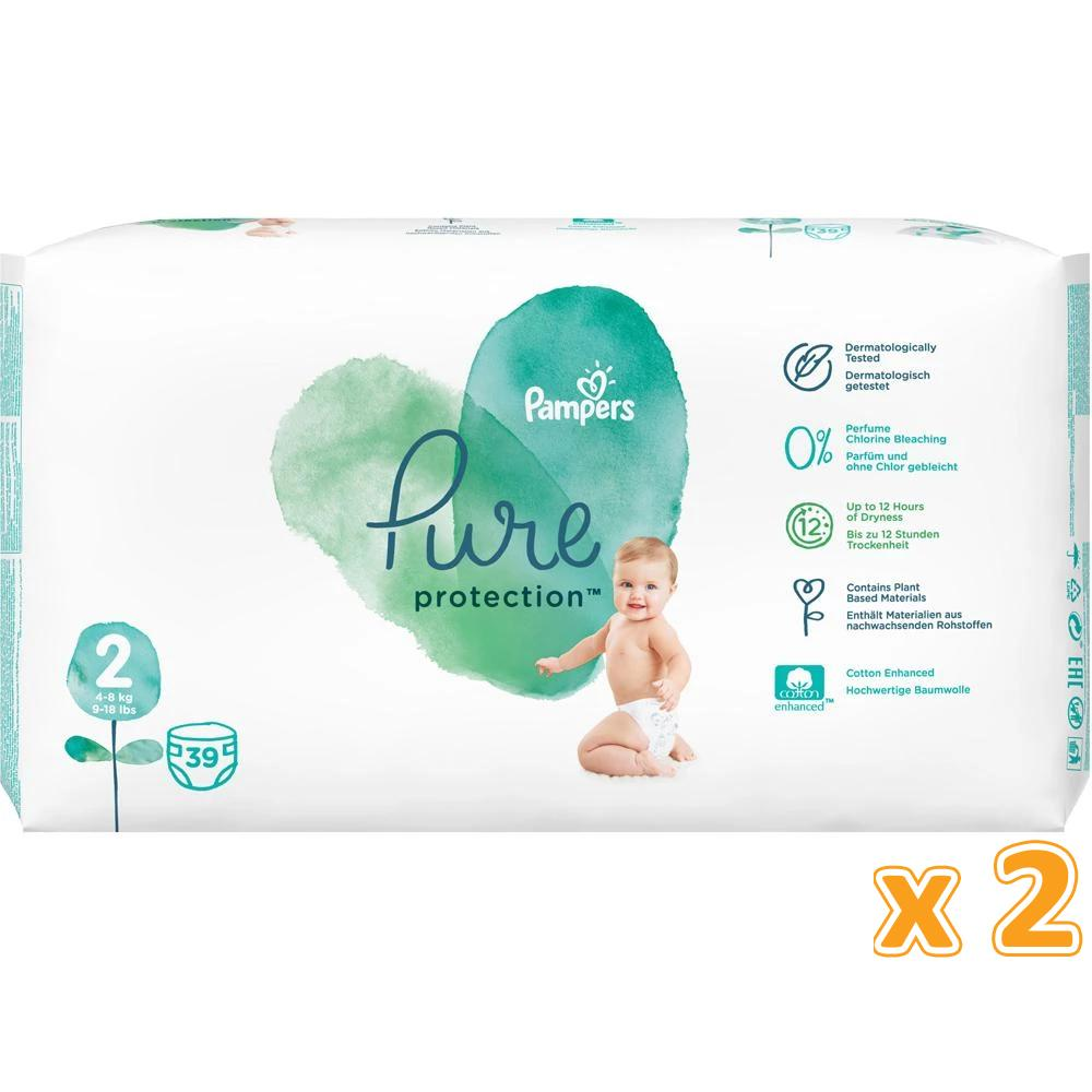 Pampers Pure Protection Diapers, Size 2, 4-8kg (2 x 39 Count)