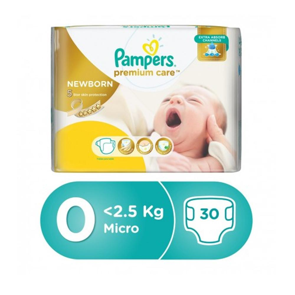 Pampers Premium Care Size 0 Carry Pack (30 Diapers) - Sanadeeg