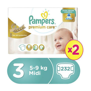 Pampers Premium Care Megabox Size 3 232 Diapers  (2X116) - Sanadeeg