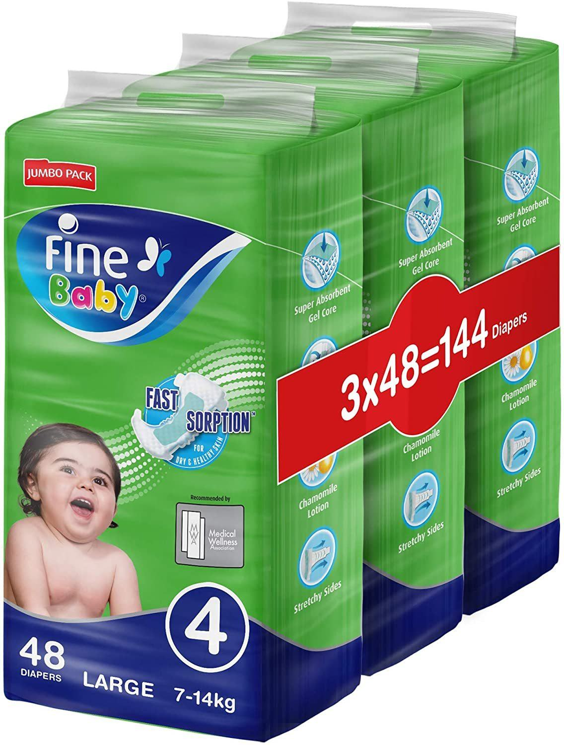 Fine Baby Super Dry - Smart Lock, Large 7-14Kgs, Dual Mega Pack (144 Diapers)