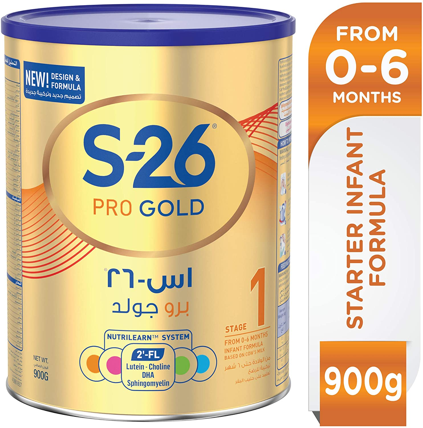 WYETH NUTRITION S26® PRO GOLD Stage 1, 0-6 Months Premium Starter Infant Formula for Babies Tin 900g with Biofactors System