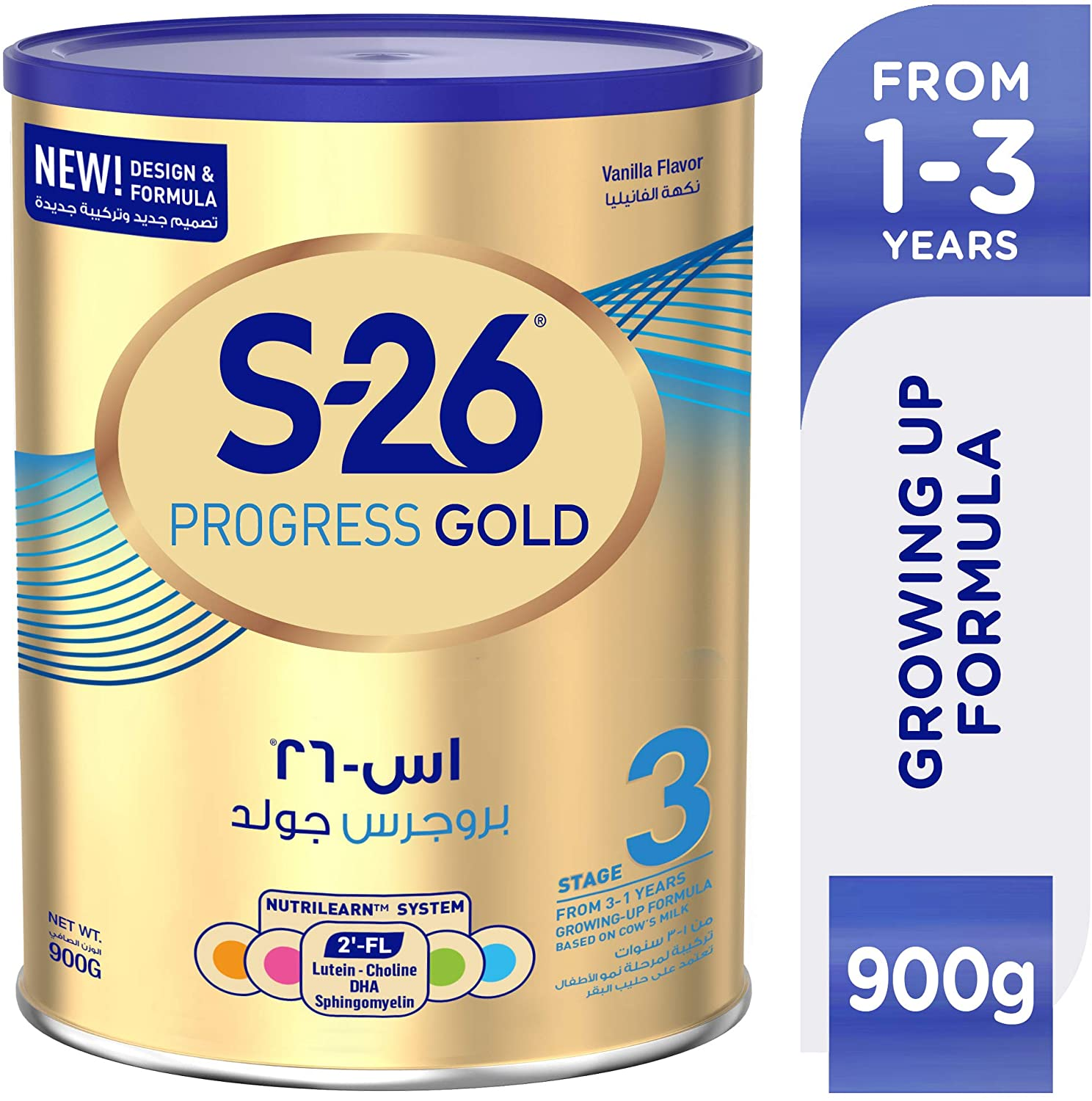 WYETH NUTRITION S26® PROGRESS GOLD Stage 3, 1-3 Years Premium Milk Powder for Toddlers Tin 900g with Biofactors System - Vanilla Flavor