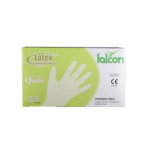 Falcon Latex Gloves Powder Free Medium (1 x 100 Pcs) - Sanadeeg