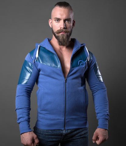 Stitched Blue Leatherette Hoodie