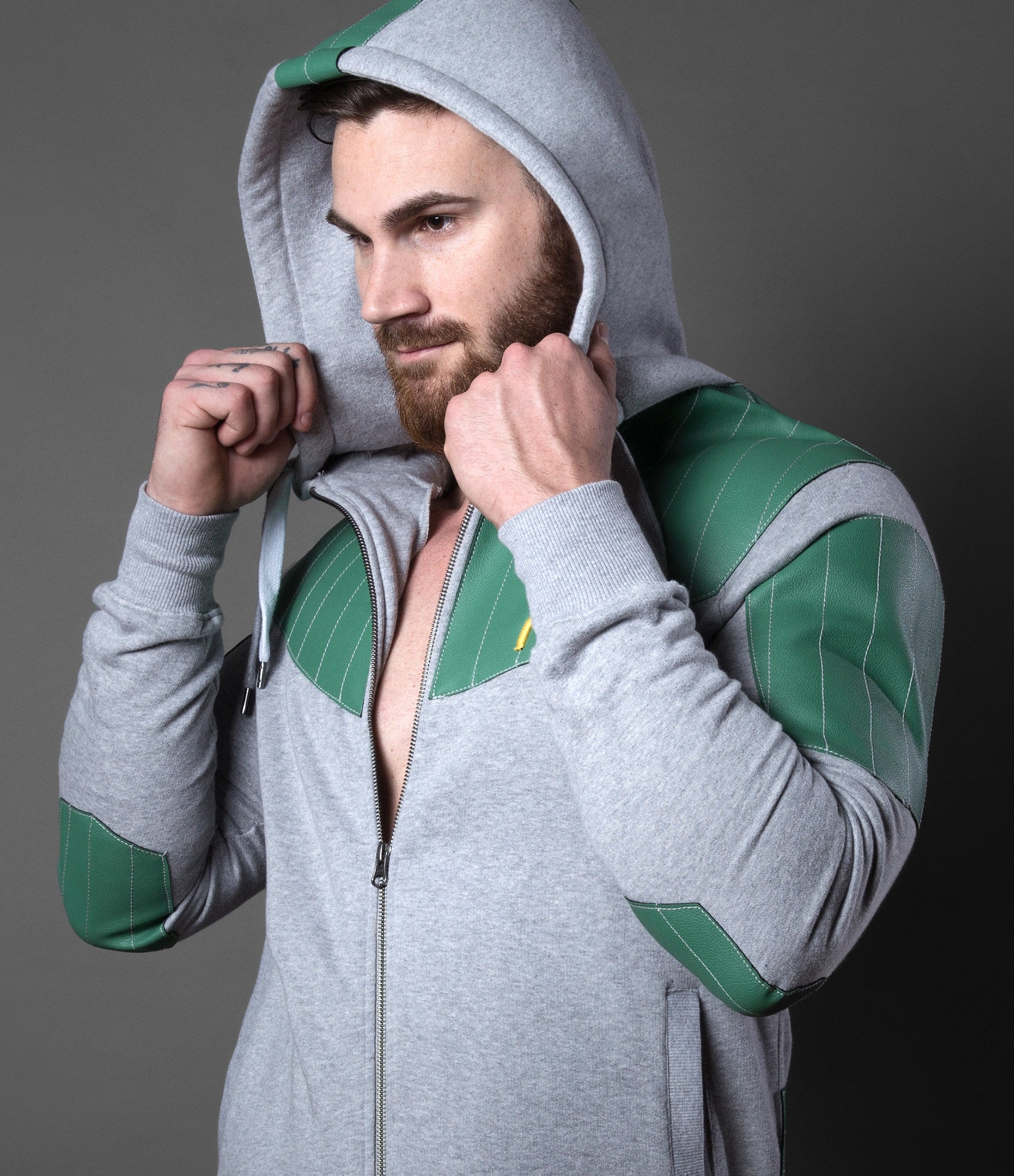 Stitched Green Leatherette Hoodie