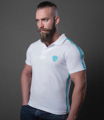 Polo Leatherette Double Blue Stripes