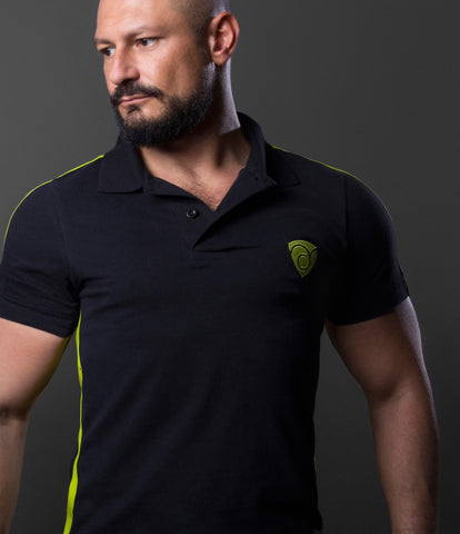 Polo Leatherette Single Green Stripe