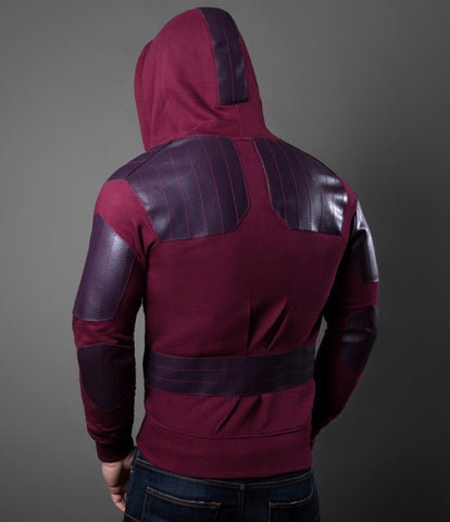 Stitched Red Leatherette Hoodie