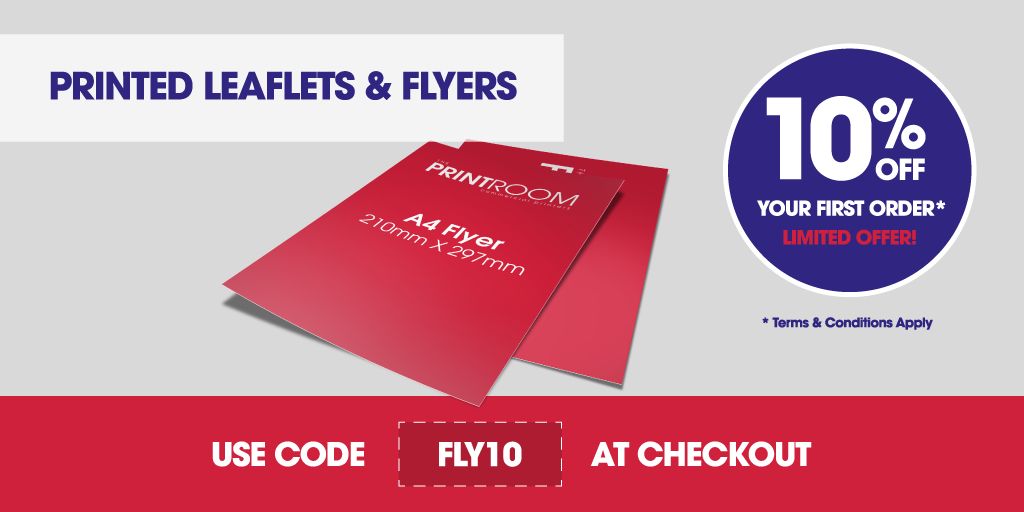 10% off leaflet and flyer printing with The Print Room, Bolton