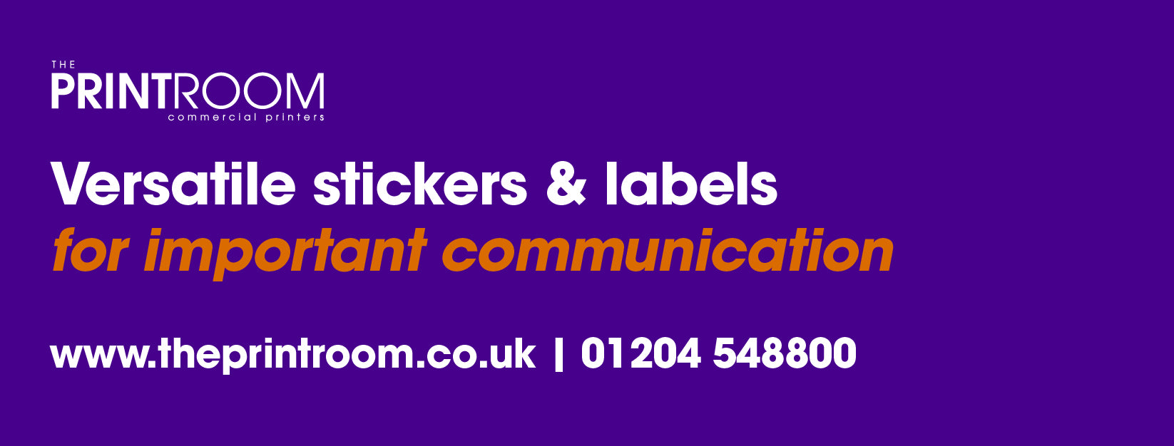 Printed stickers & labels by The Print Room, Bolton