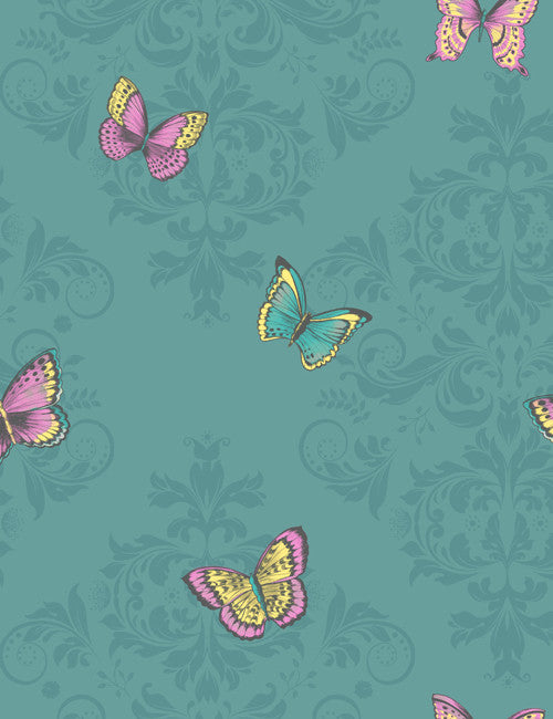 11530 Glitter Butterfly is a beautiful Teal Butterfly Wallpaper from Holden Decor