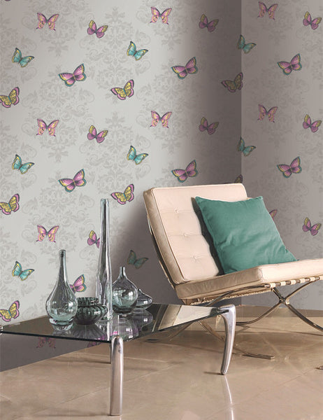 11531 Glitter Butterfly is a beautiful Grey Butterfly Wallpaper from Holden Decor
